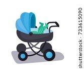 little baby lying in a blue...   Shutterstock .eps vector #733615090