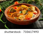 delicious fish curry with... | Shutterstock . vector #733617493