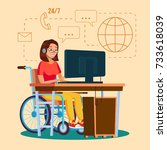disabled woman person working.... | Shutterstock . vector #733618039