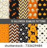 ten halloween different... | Shutterstock .eps vector #733629484