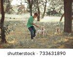 retriever pup lovely scene... | Shutterstock . vector #733631890