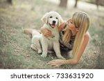 retriever pup lovely scene... | Shutterstock . vector #733631920