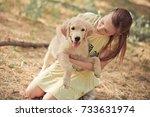 retriever pup lovely scene cute ... | Shutterstock . vector #733631974