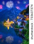 fireworks display in hallstatt... | Shutterstock . vector #733637374