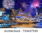 new years firework display in... | Shutterstock . vector #733637530