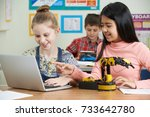 female pupils in science lesson ... | Shutterstock . vector #733642780