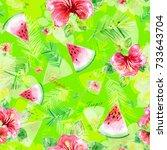 watercolor seamless pattern... | Shutterstock . vector #733643704