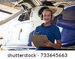 portrait of female aero... | Shutterstock . vector #733645663
