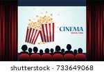 cinema poster with popcorn ... | Shutterstock .eps vector #733649068
