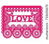 mexican papel picado design  ... | Shutterstock .eps vector #733650670