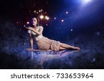 catch a star  young woman... | Shutterstock . vector #733653964