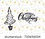 merry christmas card design... | Shutterstock .eps vector #733656034
