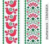 folk art seamless pattern  ... | Shutterstock .eps vector #733656814