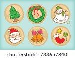 christmas cookies vector set | Shutterstock .eps vector #733657840