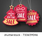 red christmas sale paper tags... | Shutterstock .eps vector #733659046