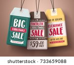 big christmas sale vector paper ... | Shutterstock .eps vector #733659088