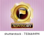shiny badge with flag icon and ... | Shutterstock .eps vector #733664494
