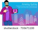 handsome man is keeping tablet... | Shutterstock .eps vector #733671100