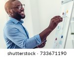 radiant millennial employee... | Shutterstock . vector #733671190