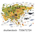 asian flora and fauna map... | Shutterstock .eps vector #733671724