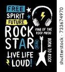 rock star slogan vector slogan... | Shutterstock .eps vector #733674970