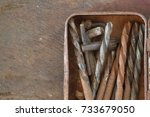 set of drill bits corroded and... | Shutterstock . vector #733679050