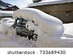 Snow Covered Car In Soldeu....