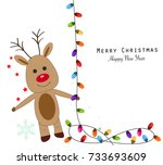 deer with colorful light bulbs. ... | Shutterstock .eps vector #733693609
