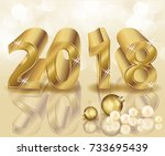 happy new 2018 year golden... | Shutterstock .eps vector #733695439
