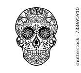 floral skull  halloween... | Shutterstock .eps vector #733695910