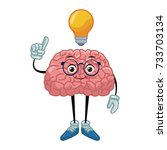 nerd brain with idea cartoon | Shutterstock .eps vector #733703134