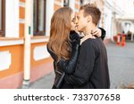 beautiful young loving couple... | Shutterstock . vector #733707658