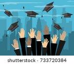 hands of graduates throwing... | Shutterstock .eps vector #733720384