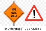 road works signs set  flat...