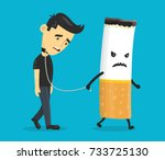 cigarette leads to a chain of a ... | Shutterstock .eps vector #733725130