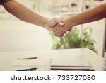 business people handshaking  | Shutterstock . vector #733727080