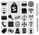 set of 22 business icons ... | Shutterstock .eps vector #733727914
