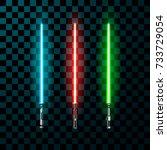 set of realistic light swords.... | Shutterstock .eps vector #733729054