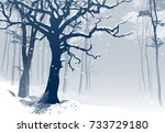 forest in winter. hand drawn... | Shutterstock .eps vector #733729180