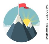 mountain with flag symbol flat...   Shutterstock .eps vector #733729498