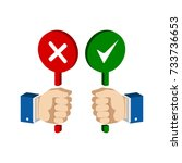 hands with false and true signs.... | Shutterstock . vector #733736653