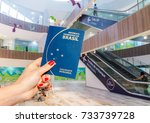hand holding a brazilian... | Shutterstock . vector #733739728