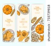 thanksgiving vertical banner...   Shutterstock .eps vector #733739818