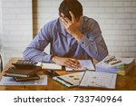 stressed businessman with head... | Shutterstock . vector #733740964
