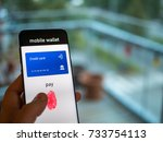 hand is using smart phone to... | Shutterstock . vector #733754113