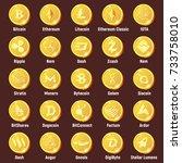 big set of cripto currency logo ... | Shutterstock .eps vector #733758010