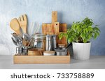 cooking utensils on table | Shutterstock . vector #733758889