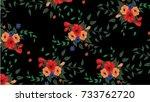 seamless hand drawn flower...   Shutterstock .eps vector #733762720