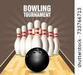 party flyer with bowling court  ... | Shutterstock .eps vector #733766713
