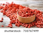 bowl with red dried goji... | Shutterstock . vector #733767499